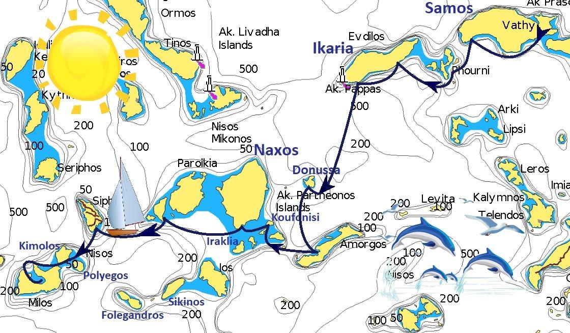 Mappa itinerario Samos Milos - Pagina Itinerari/samos-milos